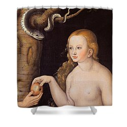 Eve Offering The Apple To Adam In The Garden Of Eden And The Serpent Shower Curtain by Cranach