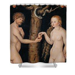 Eve Offering The Apple To Adam In The Garden Of Eden Shower Curtain by The Elder Lucas Cranach