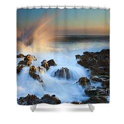 Explosive Dawn Shower Curtain by Mike  Dawson