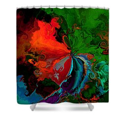 Faa Abstract 3 Invasion Of The Reds Shower Curtain by Claude McCoy