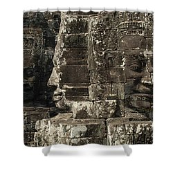 Faces Of Banyon Angkor Wat Cambodia Shower Curtain by Bob Christopher
