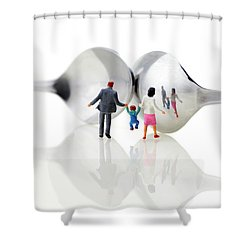 Family In Front Of Spoon Distoring Mirrors II Shower Curtain by Paul Ge