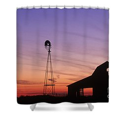 Farm At Sunset Shower Curtain by David Davis and Photo Researchers