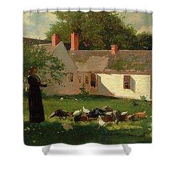 Farmyard Scene Shower Curtain by Winslow Homer