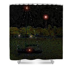 Fat Moon Bay Shower Curtain by David Lee Thompson