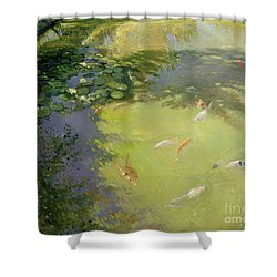 Featherplay Shower Curtain by Timothy Easton