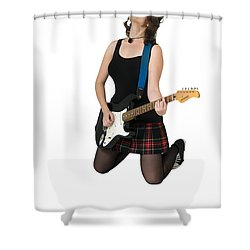 Female Guitarist Jumps  Shower Curtain by Ilan Rosen