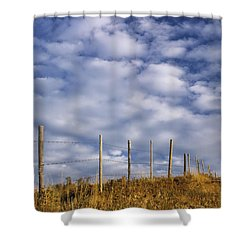 Fenceline In Pasture With Cumulus Shower Curtain by Darwin Wiggett