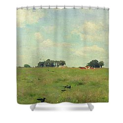 Field With Trees And Sky Shower Curtain by Walter Frederick Osborne