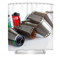 Film And Canisters Shower Curtain by Carlos Caetano