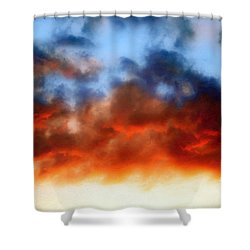 Fire In The Sky Shower Curtain by Andee Design