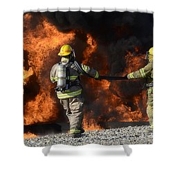Firefighters In Action 3 Shower Curtain by Bob Christopher