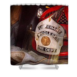 Fireman - Hat - The Lieutenants Cap  Shower Curtain by Mike Savad
