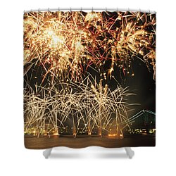 Fireworks Over Harbour Shower Curtain by Axiom Photographic