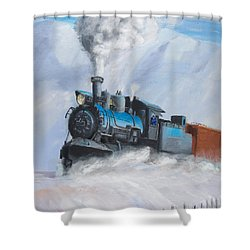 First Train Through Shower Curtain by Christopher Jenkins