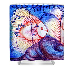 Fishes Shower Curtain by Hong Diep Loi