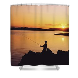 Fishing At Sunset, Roaring Water Bay Shower Curtain by The Irish Image Collection