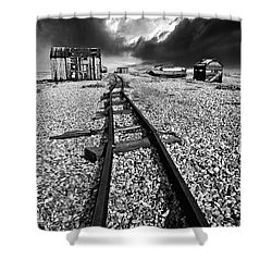 Fishing Boat Graveyard 6 Shower Curtain by Meirion Matthias