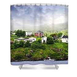 Fishing Village In Newfoundland Shower Curtain by Elena Elisseeva