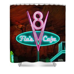 Flo's V8 Cafe - Cars Land - Disneyland Shower Curtain by Heidi Smith
