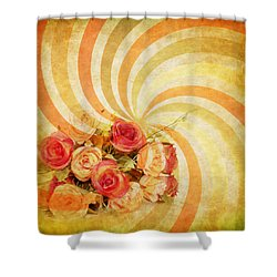 Flower Pattern Retro Style Shower Curtain by Setsiri Silapasuwanchai