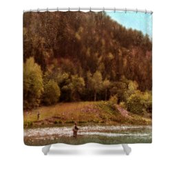 Fly Fishing Shower Curtain by Jill Battaglia