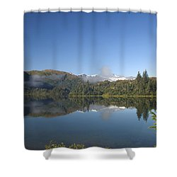 Fog Over Shrode Lake II Shower Curtain by Gloria & Richard Maschmeyer