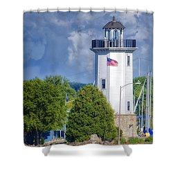 Fond Du Lac Lighthouse Shower Curtain by Joan Carroll