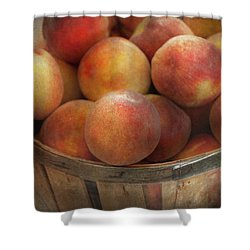 Food - Peaches - Just Peachy Shower Curtain by Mike Savad