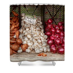 Food - Vegetable - Sweet Potatoes-garlic- And Onions - Yum  Shower Curtain by Mike Savad