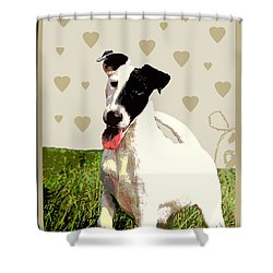 Fox Terrier Smooth Shower Curtain by One Rude Dawg Orcutt