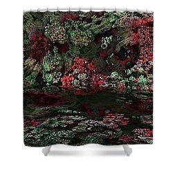 Fractal Alien Landscape Shower Curtain by David Lane