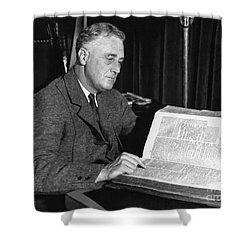 Franklin D. Roosevelt, 32nd American Shower Curtain by Photo Researchers