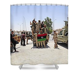 Free Libyan Army Troops Pose Shower Curtain by Andrew Chittock