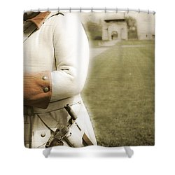 French Soldier Standing Guard Shower Curtain by Keith Allen
