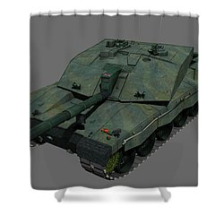 Front View Of A British Challenger II Shower Curtain by Rhys Taylor