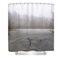 Frozen Lake In Winter Shower Curtain by Matthias Hauser