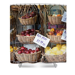 Fruit For Sale Shower Curtain by Clarence Holmes