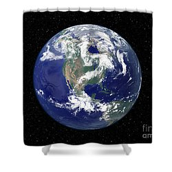 Fully Lit Earth Centered On North Shower Curtain by Stocktrek Images