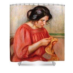 Gabrielle Darning Shower Curtain by Pierre Auguste Renoir
