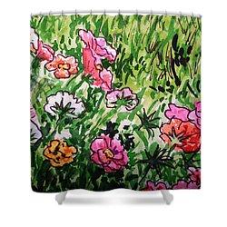 Garden Flowers Sketchbook Project Down My Street Shower Curtain by Irina Sztukowski