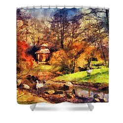 Gazebo In The Park Shower Curtain by Jai Johnson