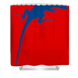 Gecko Silhouette Red Blue Shower Curtain by Ramona Johnston