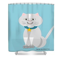Geo Smiley Cat Shower Curtain by Maria Urso
