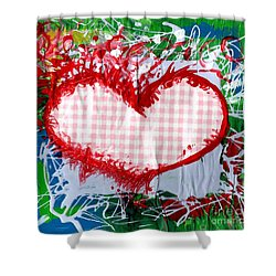 Gingham Crazy Heart Shower Curtain by Genevieve Esson