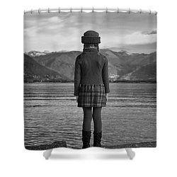Girl At A Lake Shower Curtain by Joana Kruse