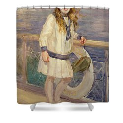 Girl In A Sailor Suit Shower Curtain by Charles Sims