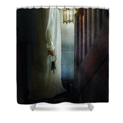 Girl On Stairs With Lantern And Keys Shower Curtain by Jill Battaglia