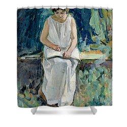 Girl Reading Shower Curtain by Henri Lebasque