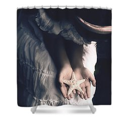 Girl With A Starfish Shower Curtain by Joana Kruse